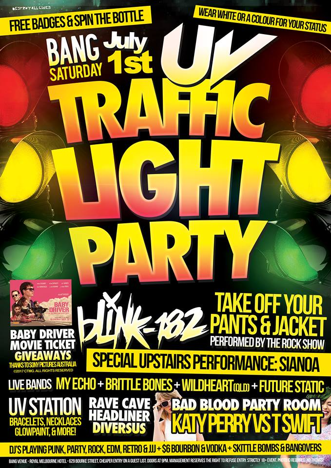 Exceptional Press Flyer Image BANG PRESENTS   UV TRAFFIC LIGHT PARTY   SATURDAY 1 JULY,  2017